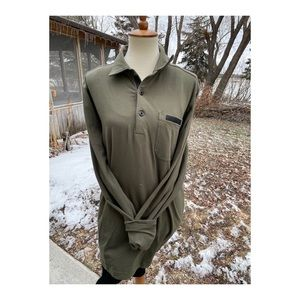 MPG Olive Shirt Casual Knit Stretch 1/4 button up